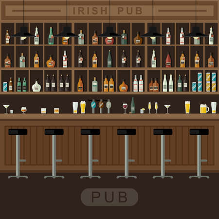 wooden shelf: Bar Restaurant with counter in flat style. Vector banner of interior with bar counter, bar chairs and shelves with alcohol. Illustration