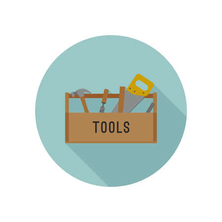 isolated object: Tools box flat icon with tools. Vector illustration. Illustration
