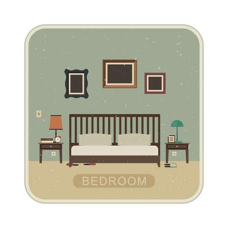 bedroom furniture: Bedroom interior with furniture. Vector grunge illustration of bedroom.