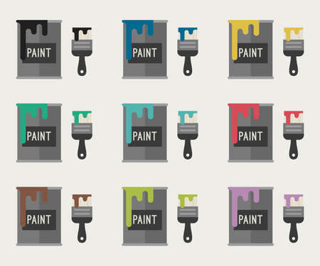 Flat Icons of paint buckets with paint brushes in different colors. Vector illustration. Vettoriali