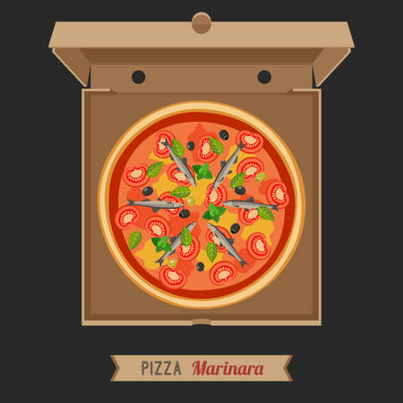 anchovy: Pizza Marinara in the opened cardboard box. Vector flat pizza with anchovies. Illustration