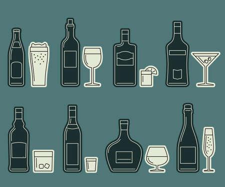 bebidas alcoh�licas: Botellas y vasos iconos vectoriales. iconos de l�neas delgadas de bebidas alcoh�licas. Vectores
