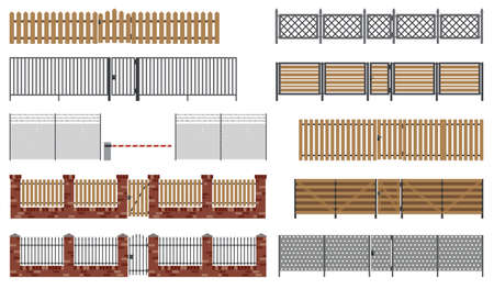 Metal and wooden fences and gates in flat style. Simple vector illustration. Illustration