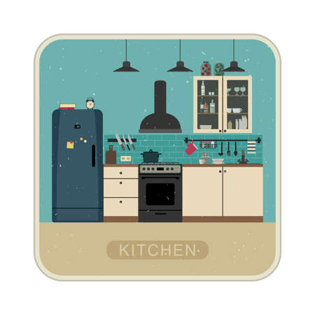 kitchen illustration: Kitchen interior with furniture and equipment. Vector retro illustration of kitchen in flat style.