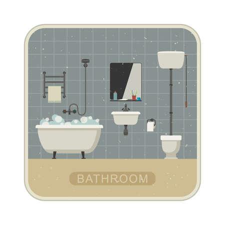 de higiene: Cuarto de baño retro ilustración plana con inodoro, lavabo y productos higiénicos. Ilustración de grunge vector del cuarto de baño. Vectores