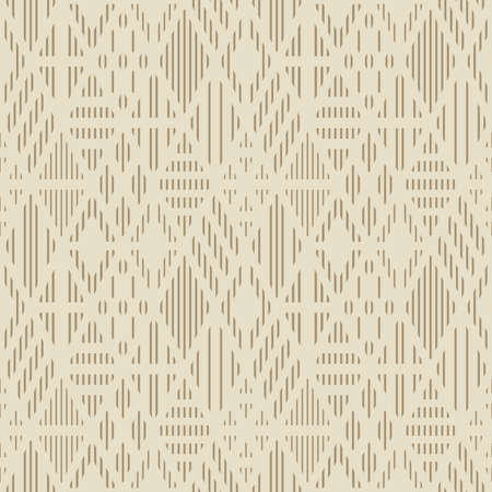 Seamless pattern with line rhombuses. Geometric background in beige color.