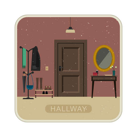 entrance hall: Hall interior with entrance door. Vintage illustration of hallway interior.