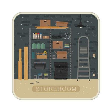 Abstellraum Innenraum mit Metall Lagerung. Vector Grunge Illustration der Garage oder Abstellraum.
