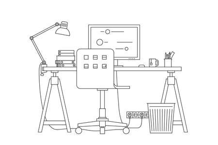 Workplace with work chair, table and PC. Vector thin line illustration of workspace.
