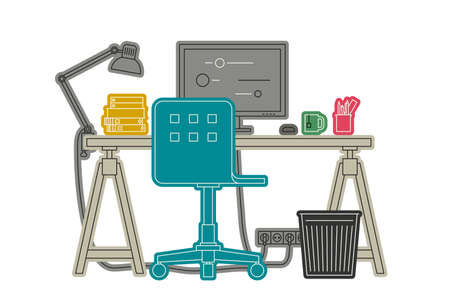 workspace: Workplace thin line illustration. Vector color illustration of workspace.