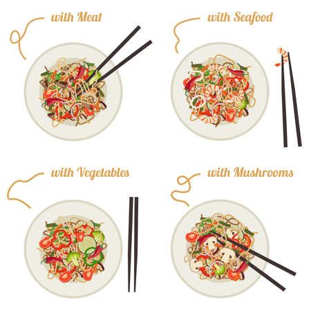 Noodles with meat, seafood, vegetables and mushrooms on plates.