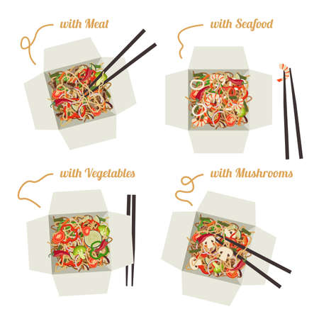 take out food: Chinese WOK noodles with meat, seafood, vegetables and mushrooms in paper boxes. Illustration