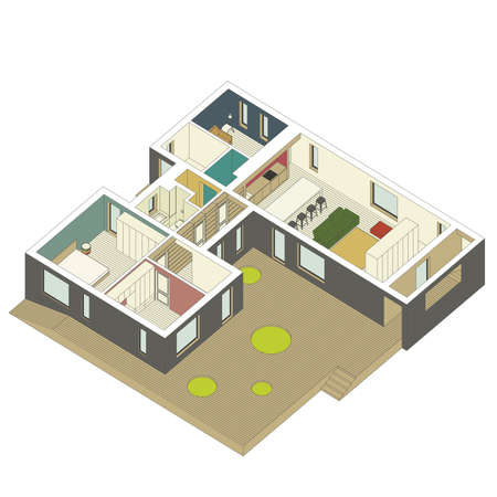 sections: isometric view of the house inside. Vector illustration.