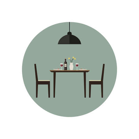 a table: Dining room icon with table and two chairs in flat style. Vector illustration.