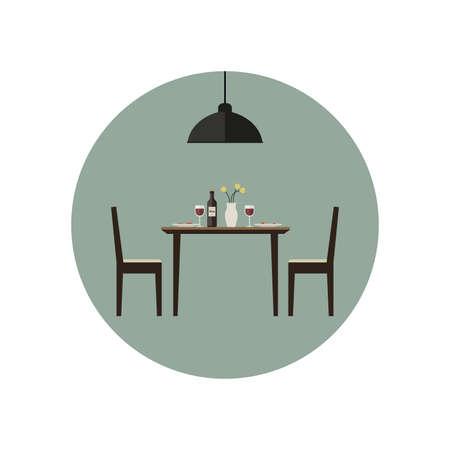 Sala icona da pranzo con tavolo e due sedie in stile piatto. Illustrazione vettoriale. Vettoriali