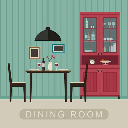 Jídelna interiér s nábytkem. Vektorové nápis jídelny v plochém stylu. Ilustrace