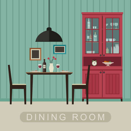 Dining room interior with furniture. Vector banner of dining room in flat style.