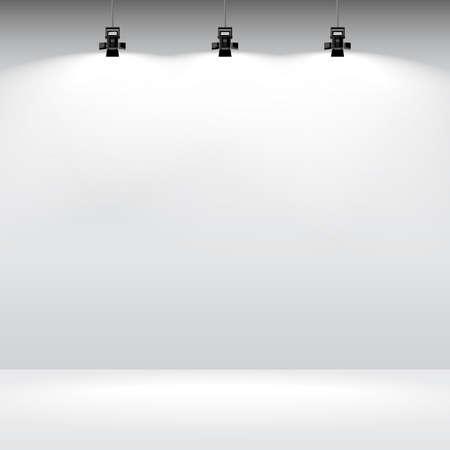 Habitación con la pared blanca vacía y centro de atención. Ilustración del vector de la galería de plantillas interiores. Ilustración de vector