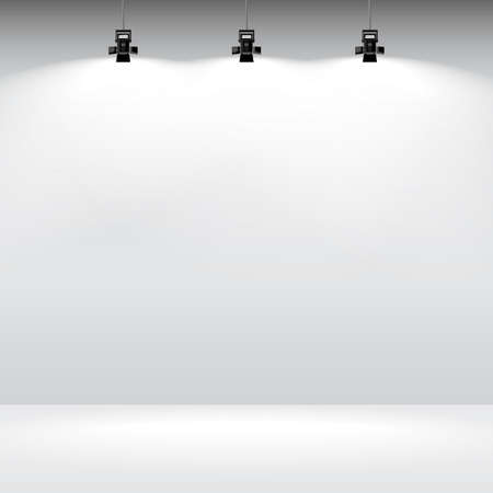 wall: Room with white empty wall and spotlight. Vector illustration of gallery interior template.