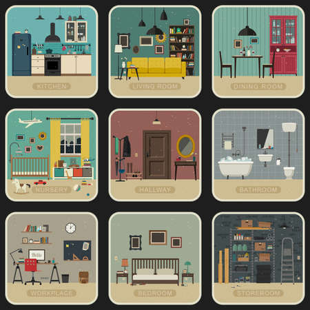 lounge room: Set of interior rooms in flat style. Vintage illustrations of bathroom, living room, kitchen, etc.