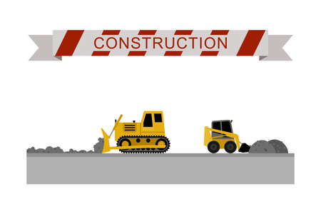 ditch: Bulldozer leveled the road. Construction machines in flat style. Vector icons of building machinery.
