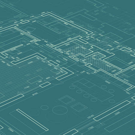 dibujo tecnico: Blueprint sobre fondo azul. Vector de arquitectura e ingeniería de fondo.