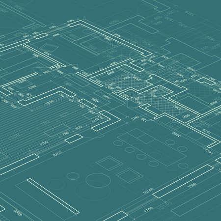 dessin au trait: Blueprint sur fond bleu. Vecteur architecture et d'ingénierie de fond.