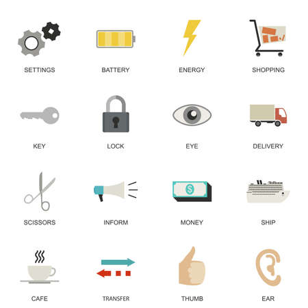 icons set: Set of Universal flat icons for Transport, Business and Social media. Illustration