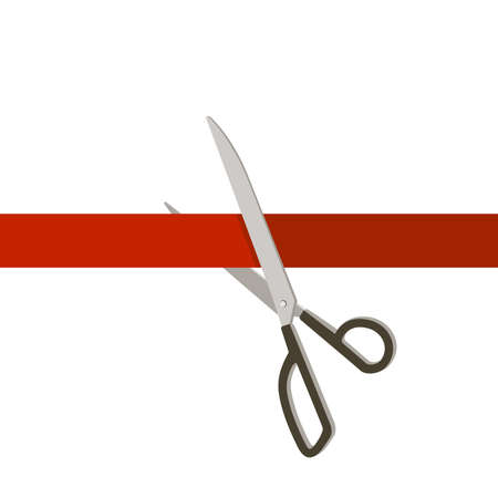 grand sale: Grand Opening with scissors and red ribbon. Simple vector illustration.