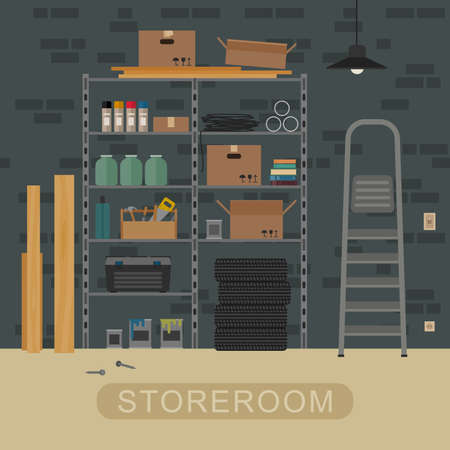 Storeroom interior with metal storage. Vector illustration of garage or storeroom.