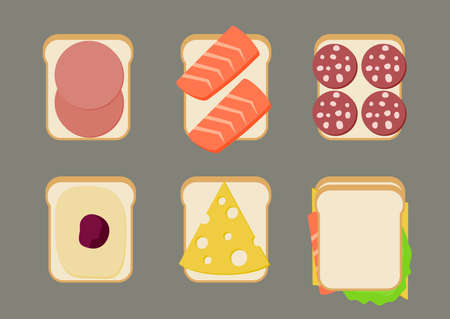 Icons sandwiches with sausage, salmon and butter in flat style. Illustration