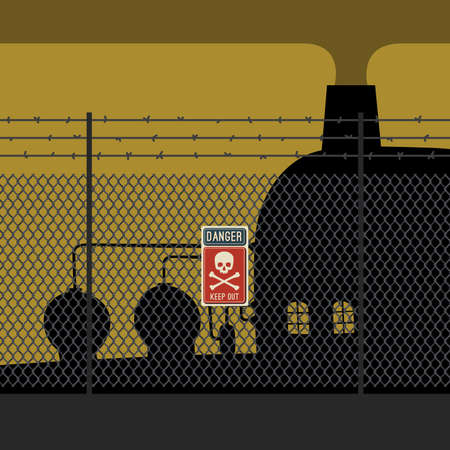 chainlink: Danger zone with fence and factory. Sign with skull and crossbones.