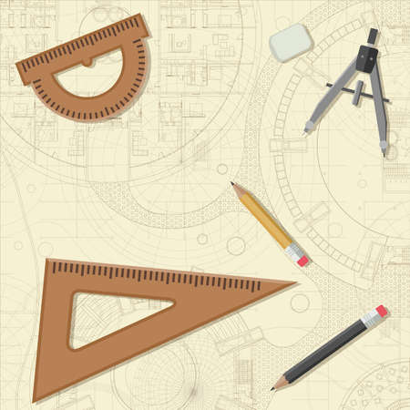 equipment: Blueprint with drawing equipment. Architectural and engineering vector background. Illustration
