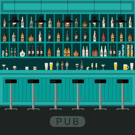 Interno Bar con bancone bar, sedie da bar e mensole con l'alcol. Archivio Fotografico - 52413954