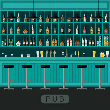 bar counter: Pub interior with bar counter, bar chairs and shelves with alcohol.