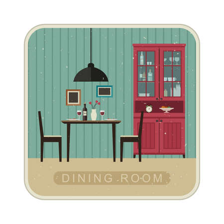 dining room: Interior of dining room with grunge texture. Vector retro illustration of dining room in flat style. Illustration
