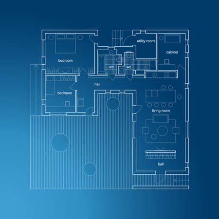floorplan: Architectural plan of modern house. Vector blueprint.