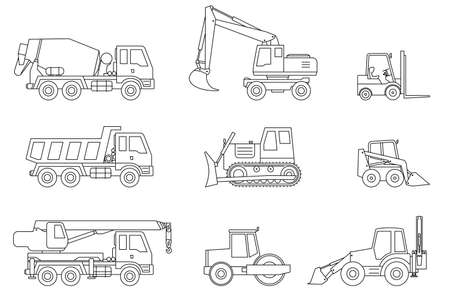 construction machinery: Construction machines thin icons. Vector line icons of building machinery.