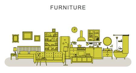 Vector line illustration of furniture and home decoration with sofa, bookshelf, bed, bathroom, kitchen, etc.
