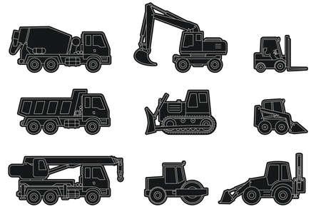 Vector lijn iconen van bouwmachines silhouetten.
