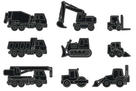 construction machinery: Vector line icons of construction machinery silhouettes.