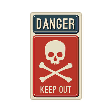 voltage: Danger sign with skull and crossbones in flat style.