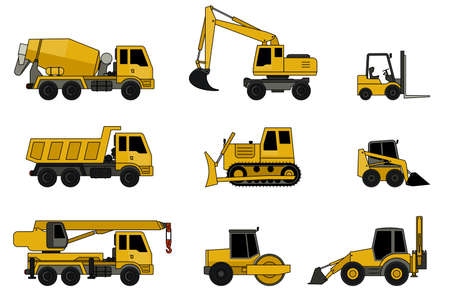 road grader: Construction machines icons with line contour. Vector icons of building machinery. Illustration
