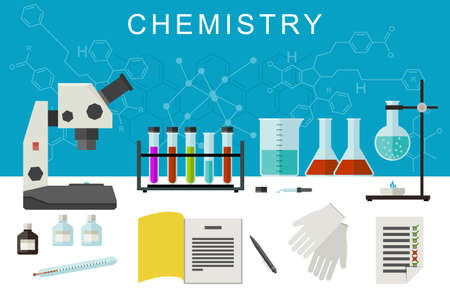 chemical equipment: Chemistry vector banner with flat icons of scientific and chemical equipment. Illustration of chemical experiences.