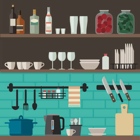 countertop: Kitchenware flat icons. Vector illustration of kitchen shelves with cooking utensils.