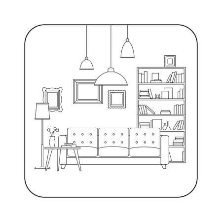 Surface ligne de l'espace intérieur avec des meubles. Vector mince illustration de salon.