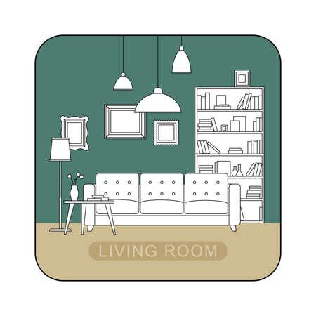 decoration design: Interior of living room. Vector line illustration of living room.