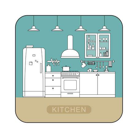 kitchen furniture: Kitchen interior with furniture and cooking utensils.