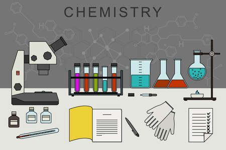 chemical equipment: Chemistry vector banner with icons of scientific and chemical equipment. Chemical experiences. Illustration
