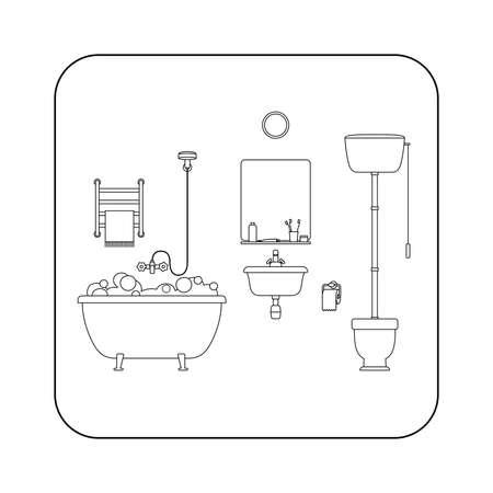 toilet sink: Bathroom line illustration with toilet, sink and hygienic supplies. Illustration